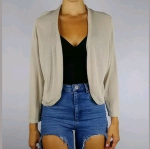 Soft Surroundings sheer beige crop knit cardigan